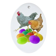 Chickens Colored Eggs Ornament (Oval)