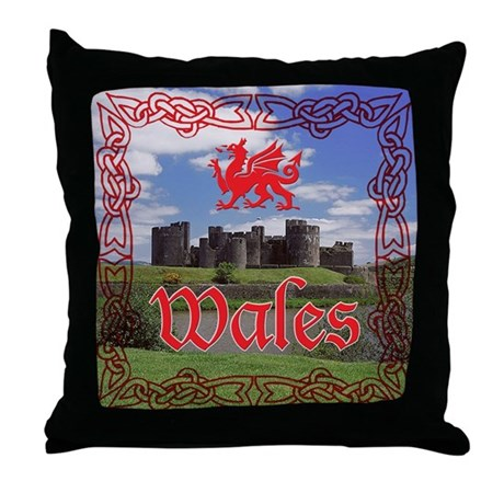 Caerphilly Castle Throw Pillow By Gravecake