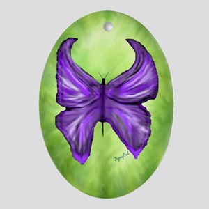 Royal Purple Butterfly Pendant /  Oval Ornament