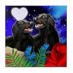 FLAT COATED RETRIEVER DOGS LOVE Tile Coaster