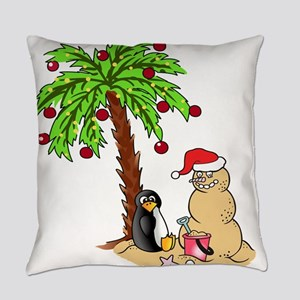Christmas at the Beach Everyday Pillow