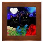 BLACK CATS LOVE HEART MOON Framed Tile