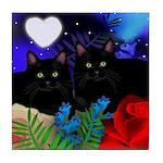 BLACK CATS LOVE HEART MOON Tile Coaster