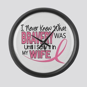 Bravery (Wife) Breast Cancer Support Large Wall Cl