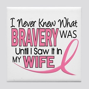 Bravery (Wife) Breast Cancer Support Tile Coaster