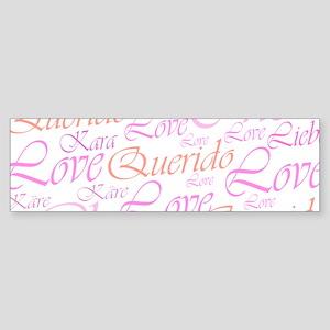Love,liebe,kara,cher,käre,quer Bumper Sticker