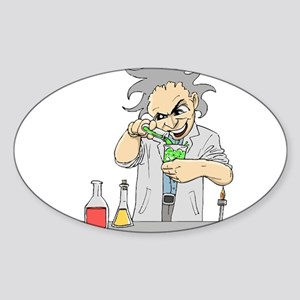 Mad Scientist Oval Sticker