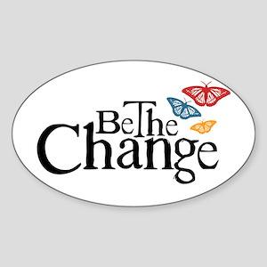 Gandhi - Change - Butterfly Oval Sticker