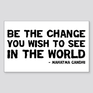 Quote - Gandhi - Change Rectangle Sticker