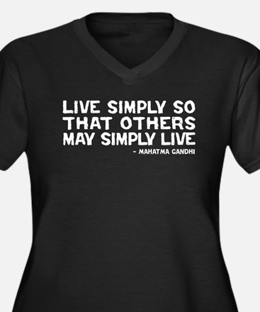 Quote - Gandhi - Live Simply Women's Plus Size V-N