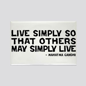Quote - Gandhi - Live Simply Rectangle Magnet