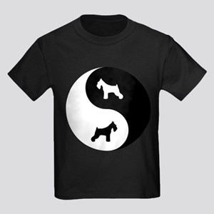 Yin Yang Schnauzer Kids Dark T-Shirt