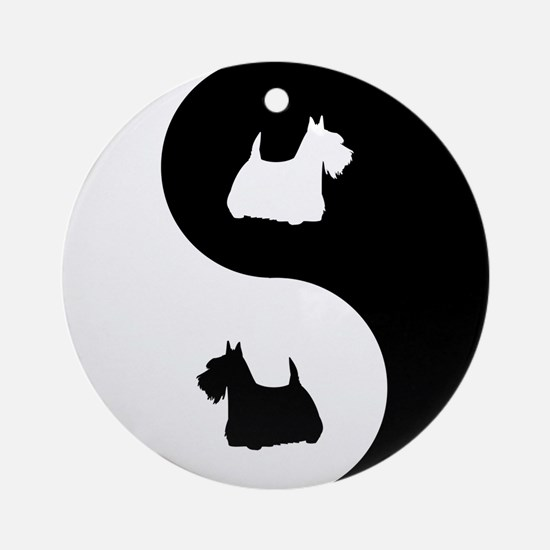 Yin Yang Scottie Ornament (Round)