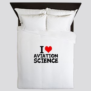 I Love Aviation Science Queen Duvet
