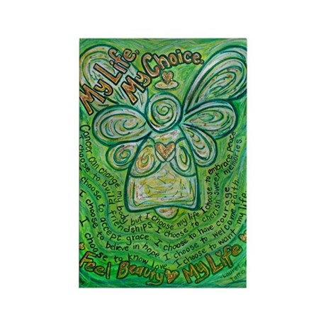 My Life Green Cancer Angel Rectangle Magnet (10 pa