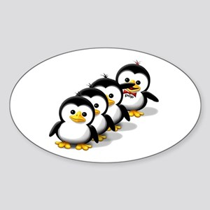 Flock of Penguins Oval Sticker