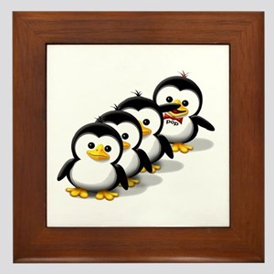 Flock of Penguins Framed Tile