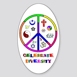 Celebrate Diversity Oval Sticker