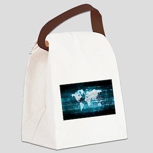 Digital Global Technology Concept Canvas Lunch Bag