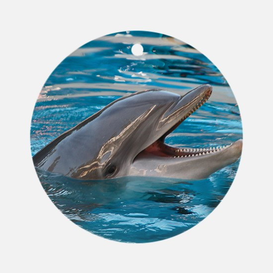"""Laughing Dolphin"" - Gift Ornament/Keepsake Round"