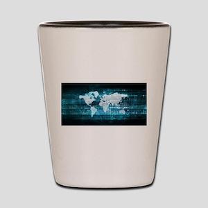 Digital Global Technology Concept Abstr Shot Glass