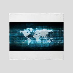 Digital Global Technology Concept Ab Throw Blanket