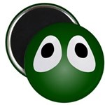 Green Blob Eyes Round Magnet