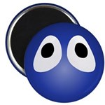 Blue Blob Eyes Round Magnet
