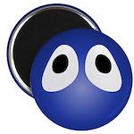 Blue Blob Eyes Round Magnet