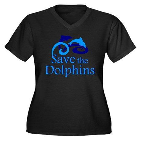 Save the Dolphins Women's Plus Size V-Neck Dark T-