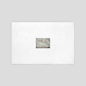 Old Vintage Christmas Snowflakes Patte 4' x 6' Rug