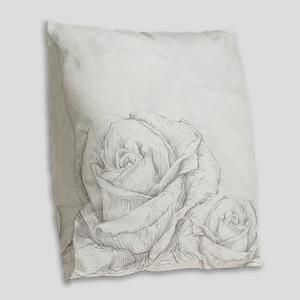 Vintage Roses Floral Grey Deco Burlap Throw Pillow