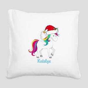 Unicorn Santa Cute Square Canvas Pillow