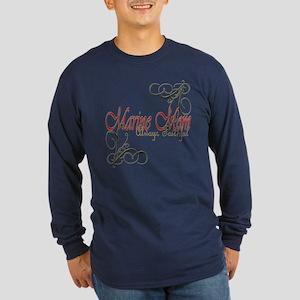 Swirl Marine Mom Dark Long Sleeve T-Shirt