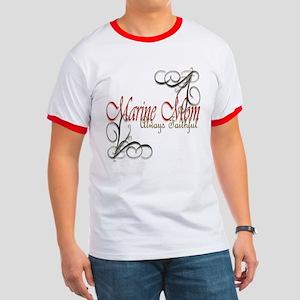 Swirl Marine Mom Ringer T T-Shirt