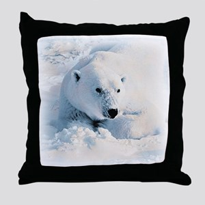 Polar Bear & Snow Throw Pillow