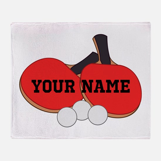 Personalized Table Tennis Ping Pong Throw Blanket