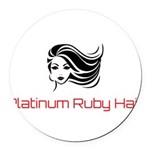 Platinum Ruby Hair Round Car Magnet