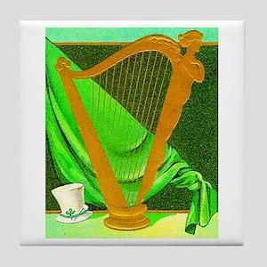 Beautiful Irish Harp Tile Coaster