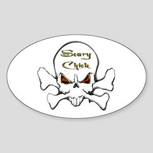 Scary Chick Oval Sticker