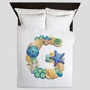 Beach Theme Monogram Letter G Queen Duvet