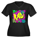 Rad! Women's Plus Size V-Neck Dark T-Shirt