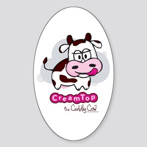 CreamTop the Cuddly Cow Oval Sticker