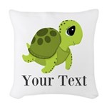 Personalizable Sea Turtle Woven Throw Pillow