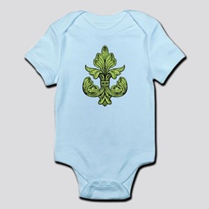 Mardi Gras Green Fleur de lis Infant Bodysuit