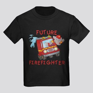 Fire Truck Future Firefighter Kids Dark T-Shirt