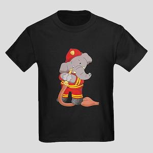 Elephant Firefighter Kids Dark T-Shirt