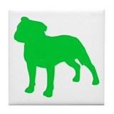 St patricks day pit bull dog Tile Coasters