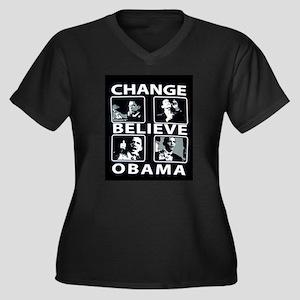change obama Women's Plus Size V-Neck Dark T-Shirt