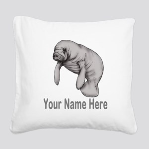 I love Manatees Square Canvas Pillow
